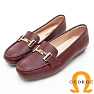 【GEORGE 喬治皮鞋】高質感釦飾素面平底包鞋-酒紅色