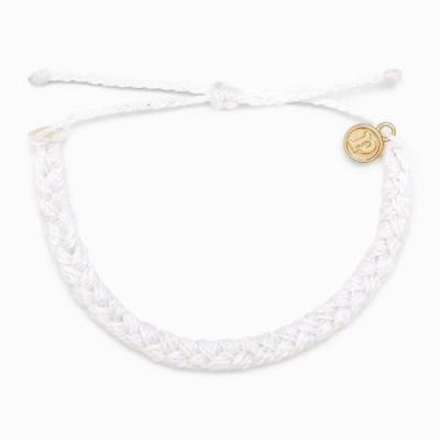 Pura Vida 美國品牌 BRAIDED 白色粗線編織 可調式衝浪手環