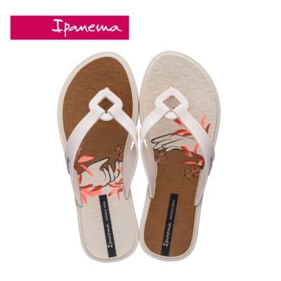 Ipanema NEXO PRINT菱格鏤空印花夾腳拖鞋-咖白