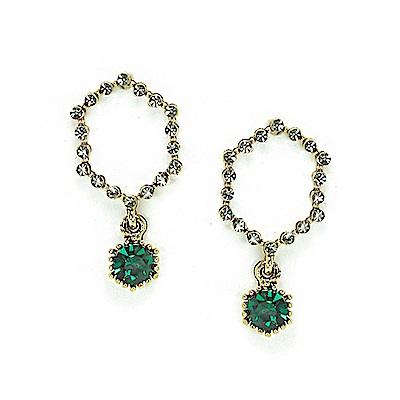 LOVER S TEMPO加拿大品牌 暮光六角造型鑲嵌翠綠水晶 耳環