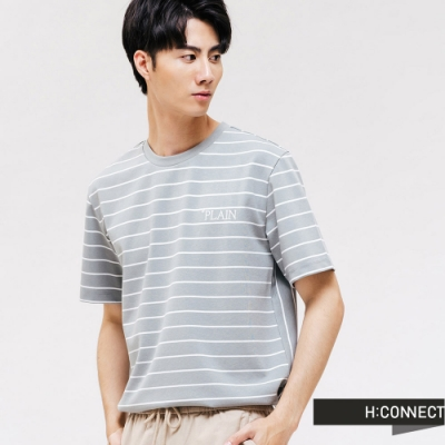 H:CONNECT 韓國品牌 男裝 -條紋刺繡文字T-Shirt-藍