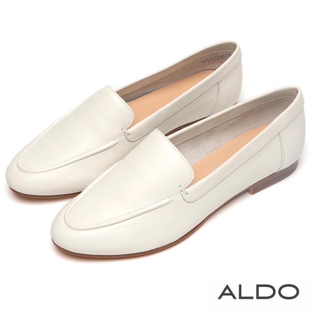 ALDO 原色真皮百搭木紋跟樂福鞋~清新白色