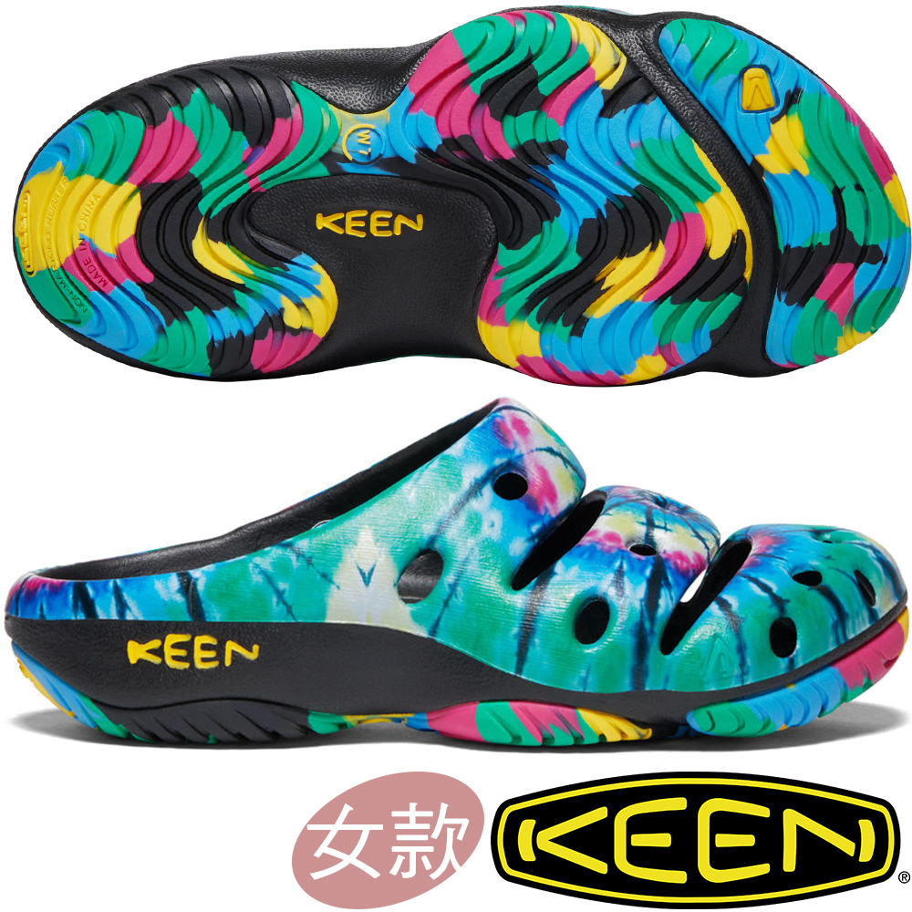 KEEN 1020313綠/彩色 Yogui Arts 女戶外護趾拖鞋/水陸兩用鞋