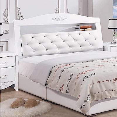 文創集 德里安法式白5尺皮革雙人床頭箱-152x28x112cm免組