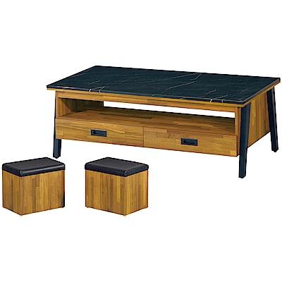 綠活居皮瑟卡4.3尺黑石面大茶几附贈收納椅凳二張-130x70x47cm免組