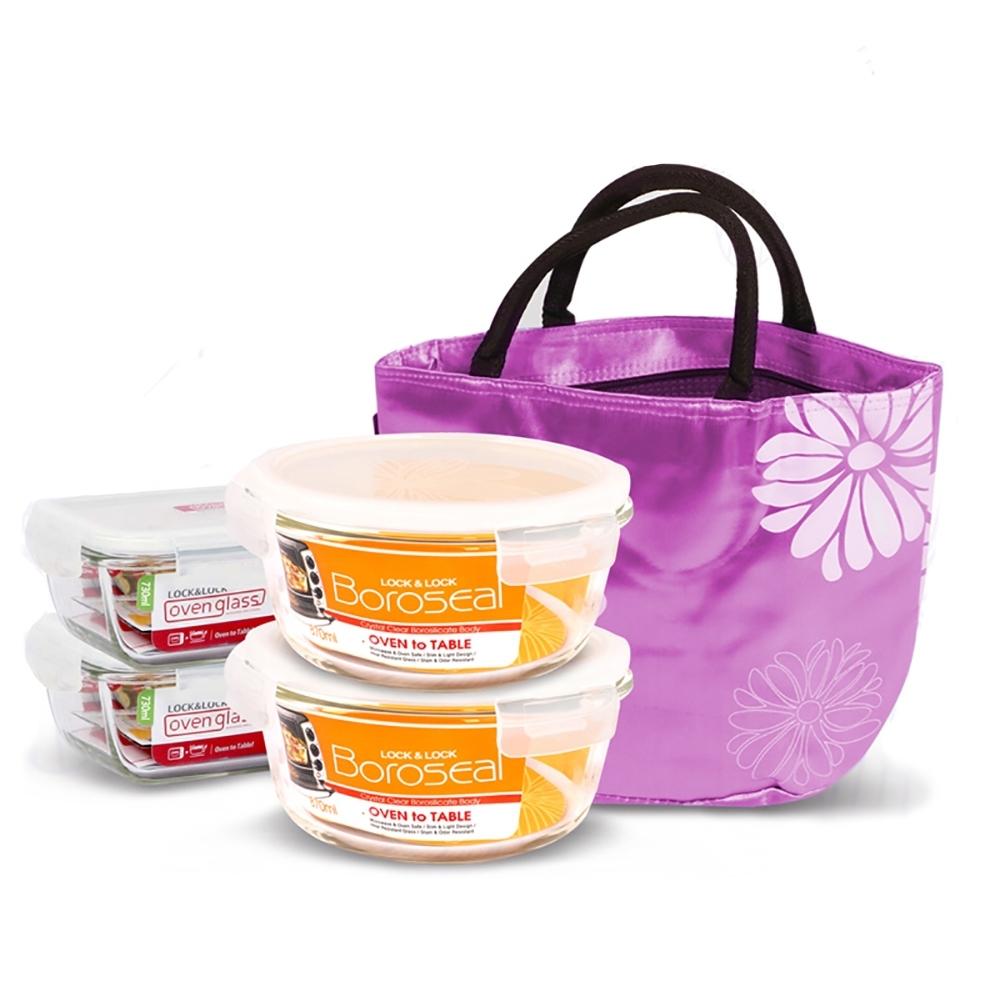 樂扣樂扣 花漾餐袋玻璃保鮮盒5件組(快)