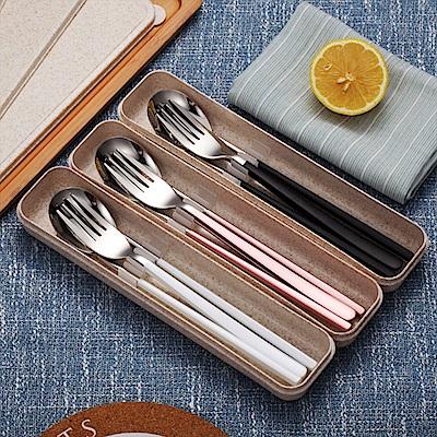 (買一送一) 304不鏽鋼小麥餐具組 湯匙筷子叉子 西餐餐具 環保餐具