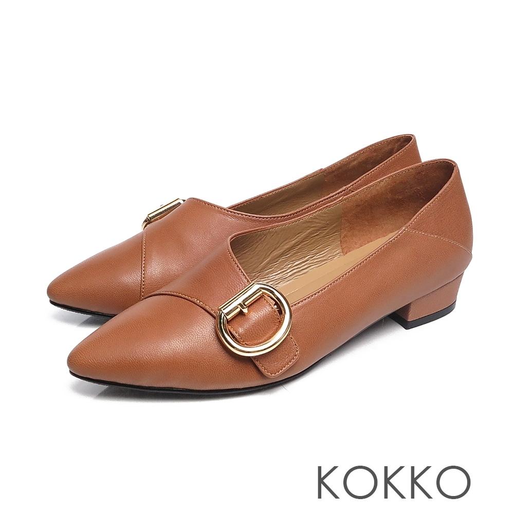 KOKKO - 心的盡頭小方頭D扣羊皮低跟鞋 - 磚橘紅