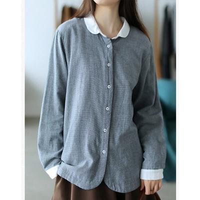 雙層棉紗格子襯衫長袖上衣-設計所在