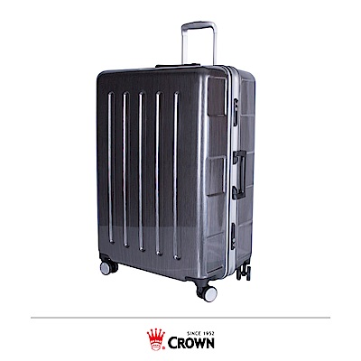 CROWN 皇冠 27吋 大容量鋁框拉桿箱 深灰鋁線