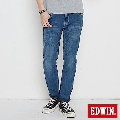 EDWIN 大尺碼迦績褲 不對稱刷色窄直筒牛仔褲-男-中古藍
