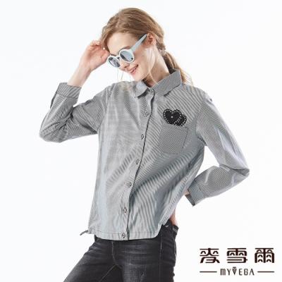 【麥雪爾】拼貼愛心口袋直條襯衫