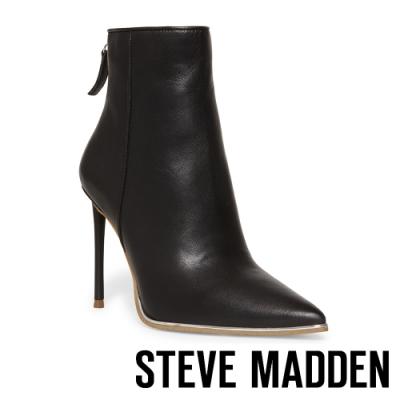 STEVE MADDEN-VIEWS 現代後拉鍊尖頭高跟短靴-黑色