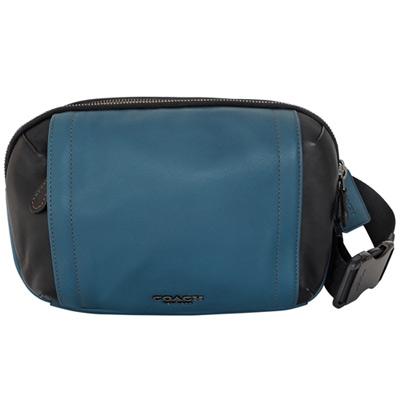 COACH藍黑拼色全皮雙層單肩斜後背胸包腰包多用男包