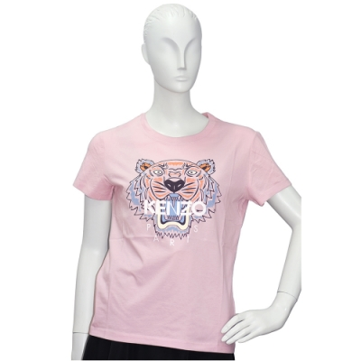 KENZO 老虎標誌印花短袖圓領衫(粉紅)