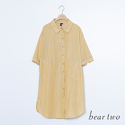 beartwo 直條紋路排釦長版襯衫(三色)