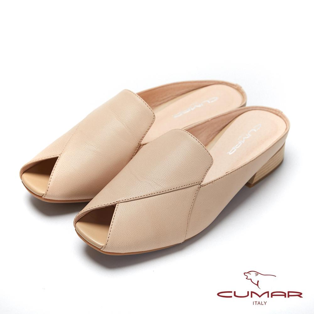 【CUMAR】文藝羅浮宮- 小方頭樂福鞋面魚口後空穆勒鞋-杏