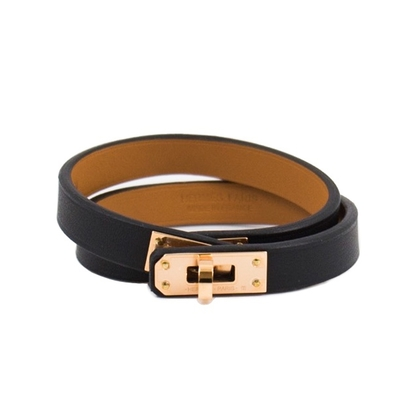 Hermes mini Kelly 雙圈牛皮手環 (黑色 x 玫瑰金色) double bracelet