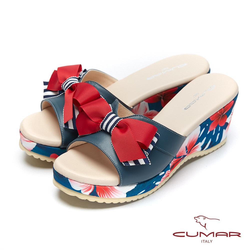 CUMAR普羅旺斯莊園- 印花蝴蝶結厚底涼拖鞋-深藍