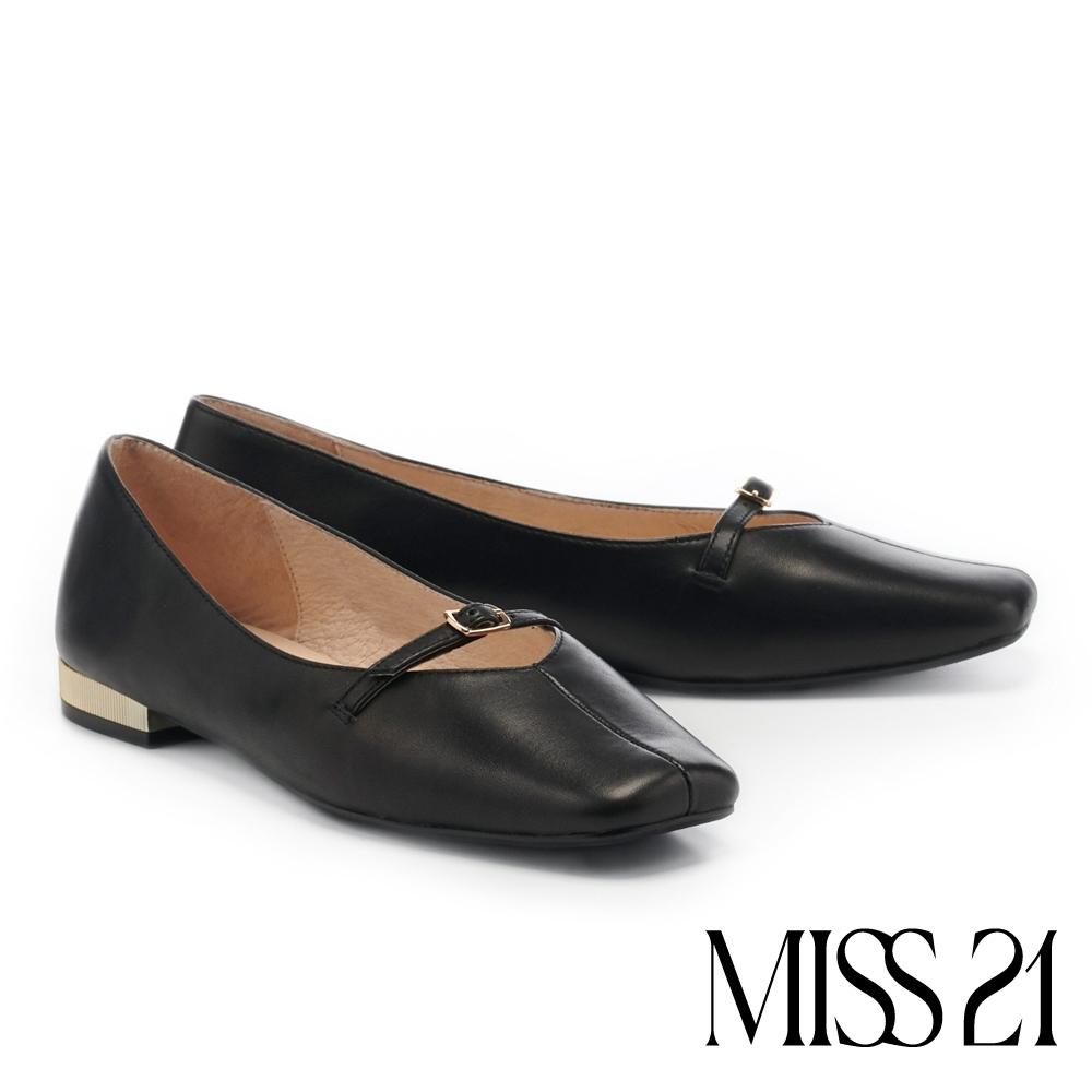低跟鞋 MISS 21 極簡素雅全真皮繫帶方頭娃娃低跟鞋-黑