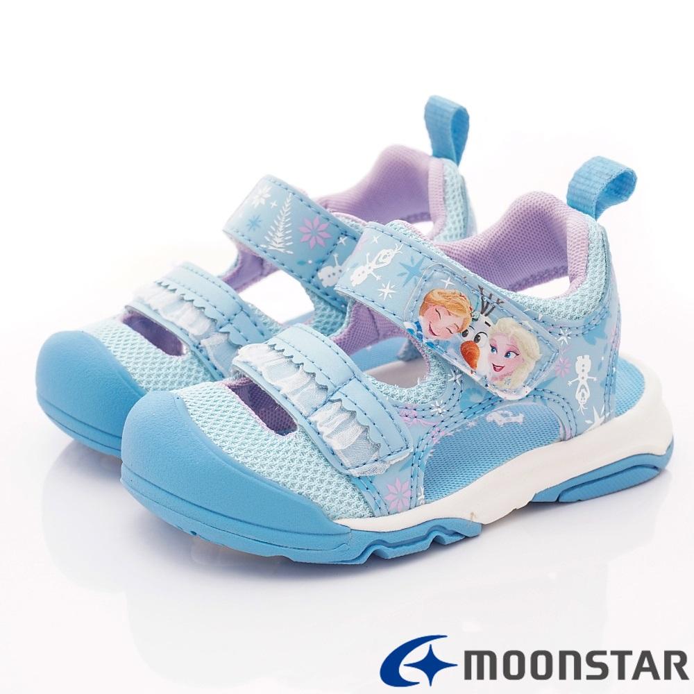 日本月星頂級童鞋 冰雪奇緣聯名護趾涼鞋 ON2339藍(中小童段)