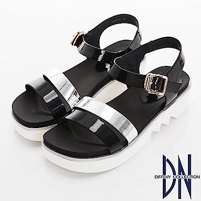 DN 夏日焦點 一字雙色楔型涼鞋-黑