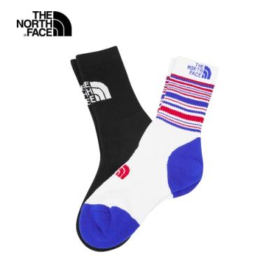 The North Face北面男女款黑白吸濕排汗運動襪2雙裝|39W6KD2