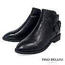 Tino Bellini 真皮純色元素單釦帶低跟短靴 _ 黑