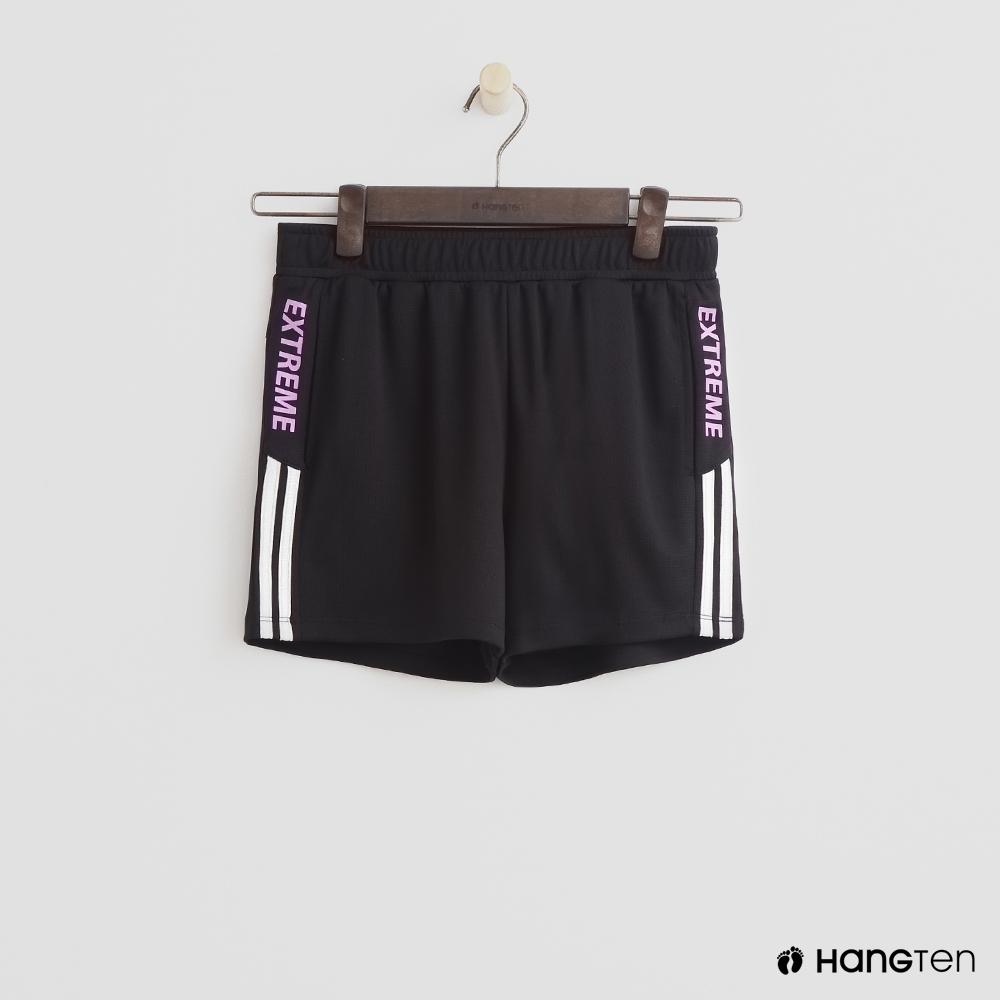 Hang Ten- 青少童裝-條紋修邊運動短褲-黑
