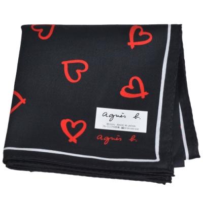 agnes b 繽紛愛心品牌字母LOGO帕領巾(黑系/紅愛心)