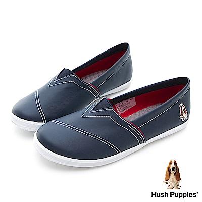 Hush Puppies 熱銷基本款★咖啡紗皮質懶人鞋-深藍
