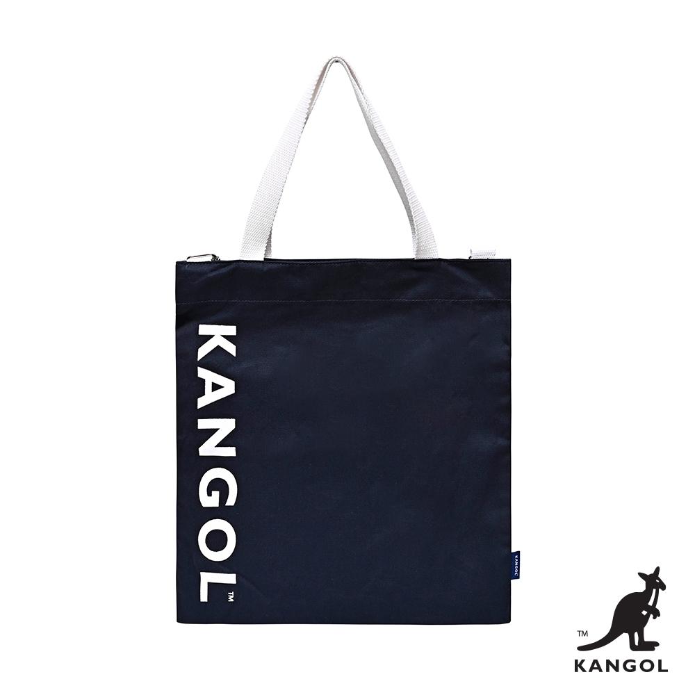 【KANGOL】字母帆布側背包-藍