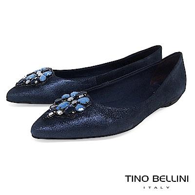 Tino Bellini 巴西進口華麗晶鑽尖楦平底娃娃鞋 _ 藍
