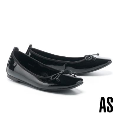 平底鞋 AS 質感時尚蝴蝶結牛漆皮方頭平底鞋-黑