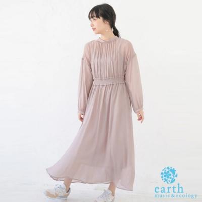 earth music 【SET ITEM】透膚蓬袖收腰洋裝+細肩帶內搭洋裝