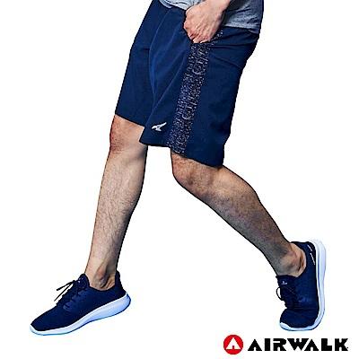 【AIRWALK】男款拼接運動褲-深藍