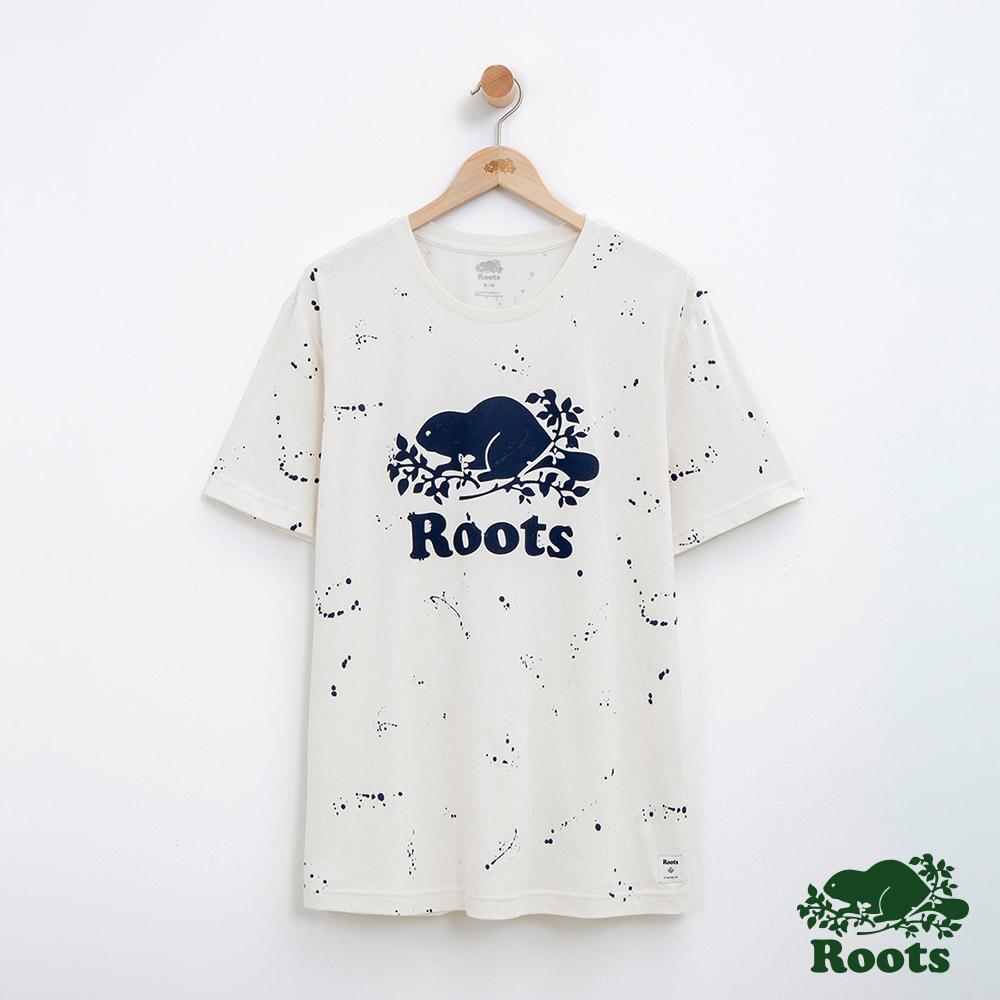 男裝Roots 庫柏潑墨短袖T恤-米白