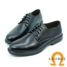 GEORGE 喬治-氣墊系列-牛皮圓頭寬楦綁帶紳士鞋-黑色