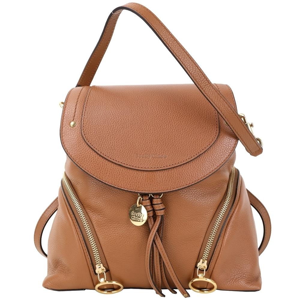 SEE BY CHLOE Olga 中型 雙拉鍊設計牛皮後背包(棕色)