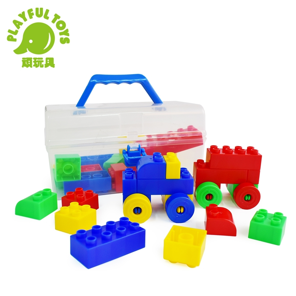 Playful Toys 頑玩具 手提積木箱(內含積木48pcs)
