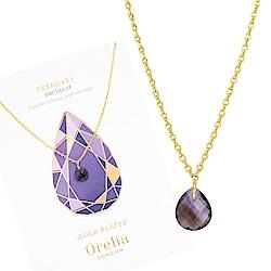 Orelia英國品牌 二月紫水晶誕生石金色項鍊