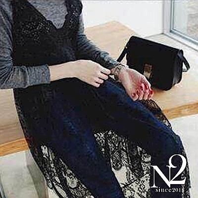 洋裝 正韓V領細肩帶提花蕾絲造型長洋裝 (黑) N2