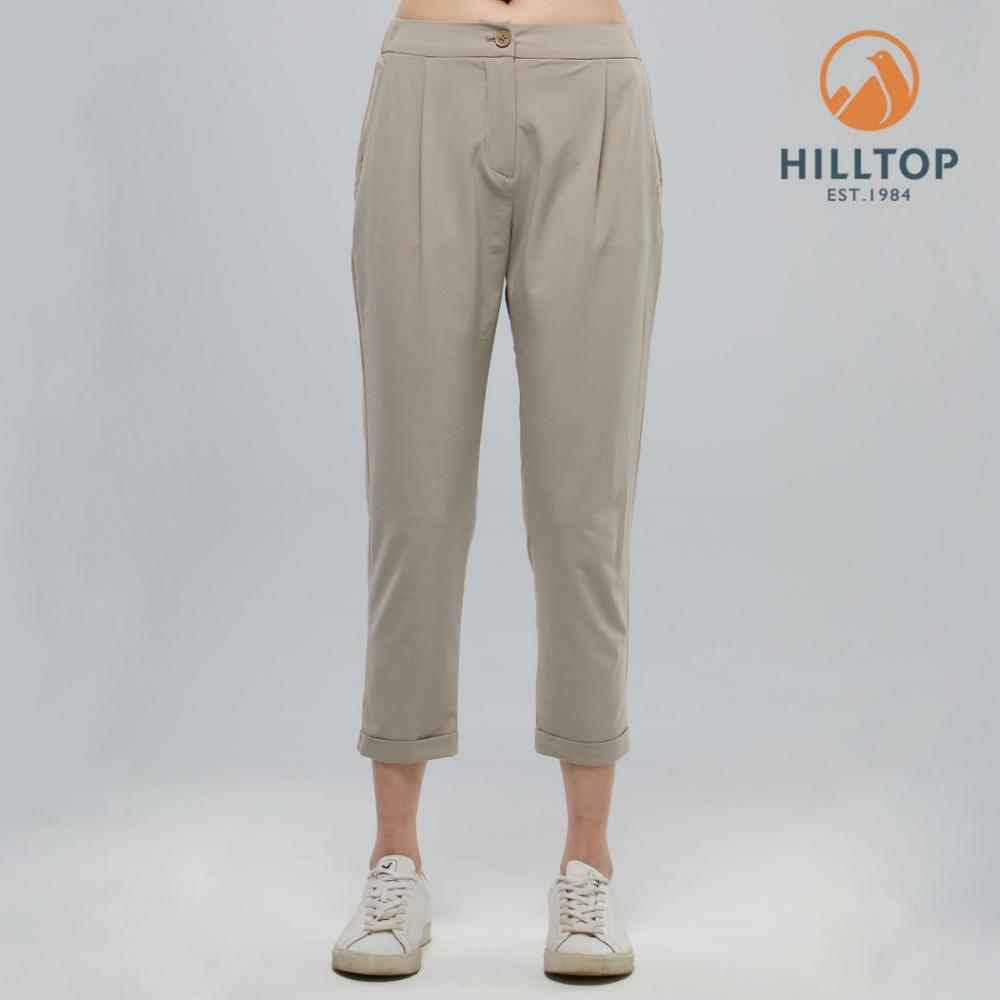 【hilltop山頂鳥】女款吸濕快乾彈性涼感長褲S07FI2冷凍卡其