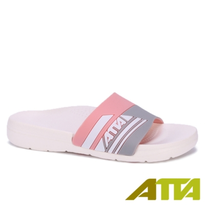 ATTA 運動風圖紋室外拖鞋-粉色