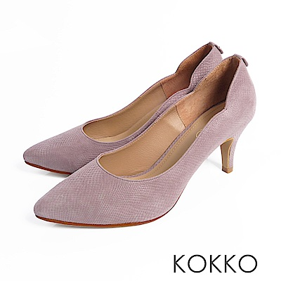 KOKKO - 精品手感波浪尖頭羊皮高跟鞋- 靜謐灰
