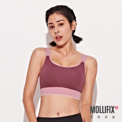 Mollifix 瑪莉菲絲 暢動U領寬肩帶運動內衣 (紅藜)