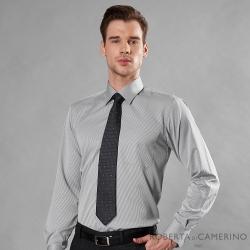 ROBERTA諾貝達 台灣製 吸濕速乾 商務條紋長袖襯衫 灰色