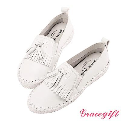 Grace gift-全真皮流蘇麻繩柔軟懶人鞋 白