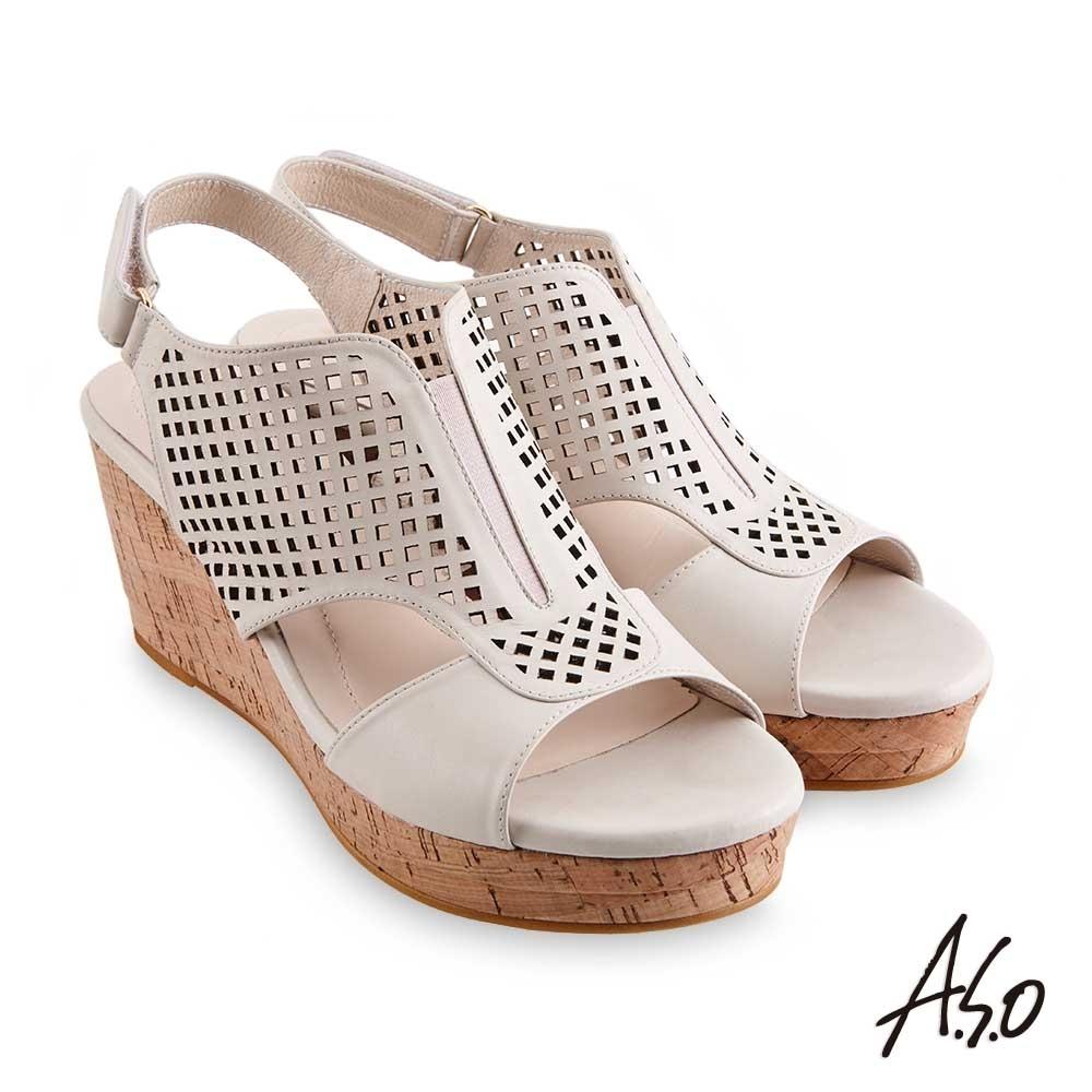 A.S.O 時尚流行 優雅時尚沖孔風格厚底涼鞋-米