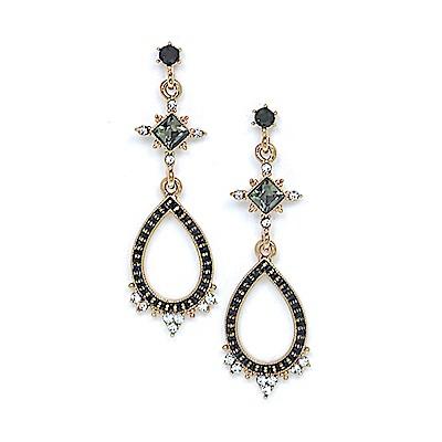 LOVER S TEMPO加拿大品牌 華麗復古水滴 水晶耳環 黑色